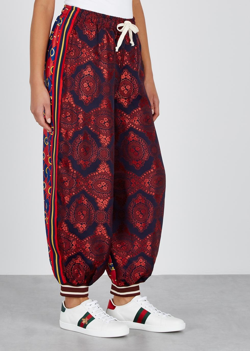 Printed silk and jacquard sweatpants - Gucci