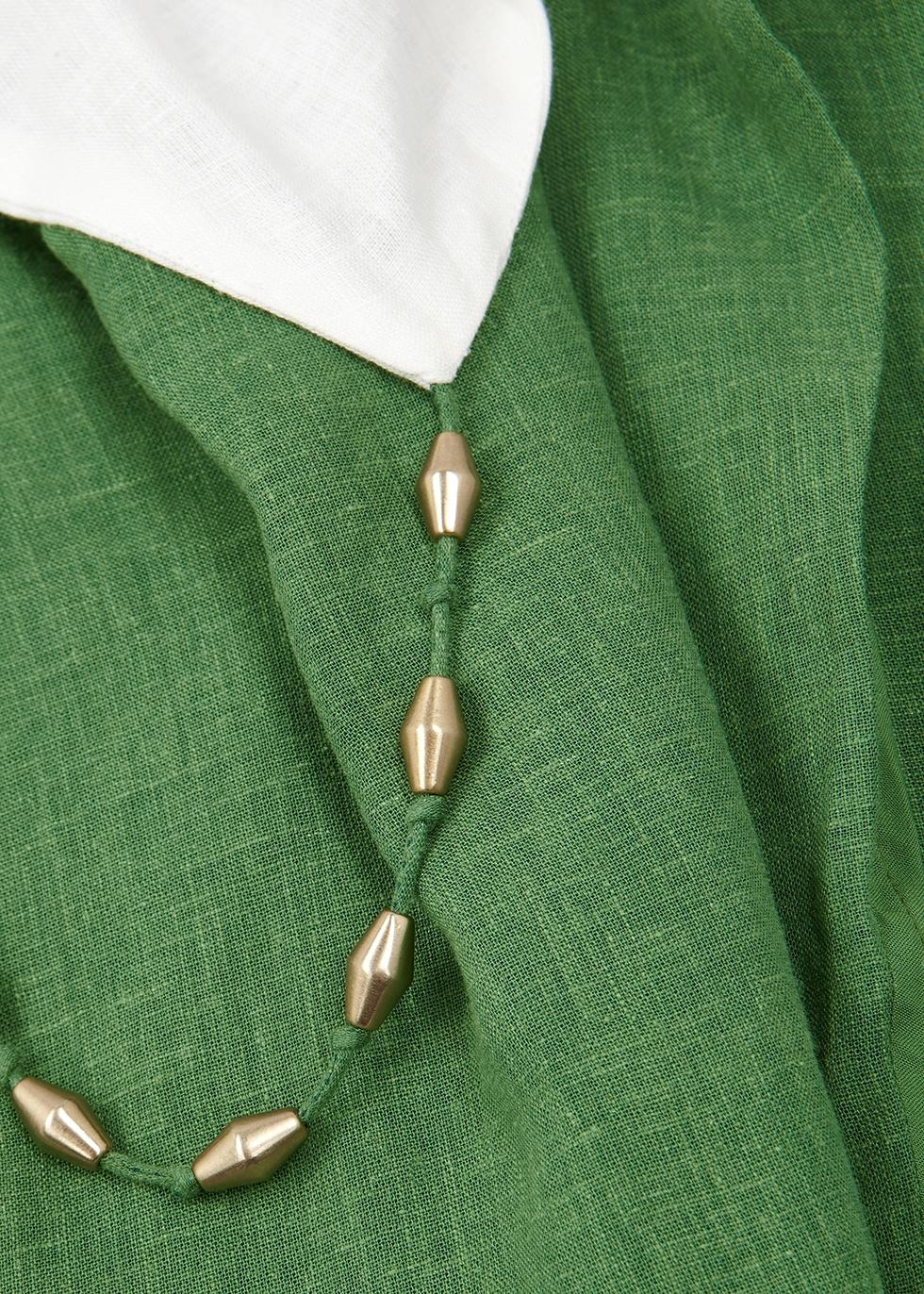 Connie two-tone linen-blend midi dress - V i X Paula Hermanny