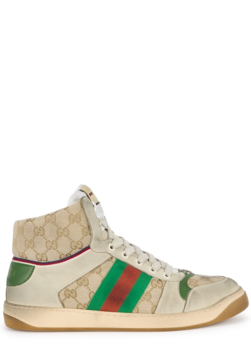 1db85975b26 Gucci Screener GG distressed hi-top trainers - Harvey Nichols