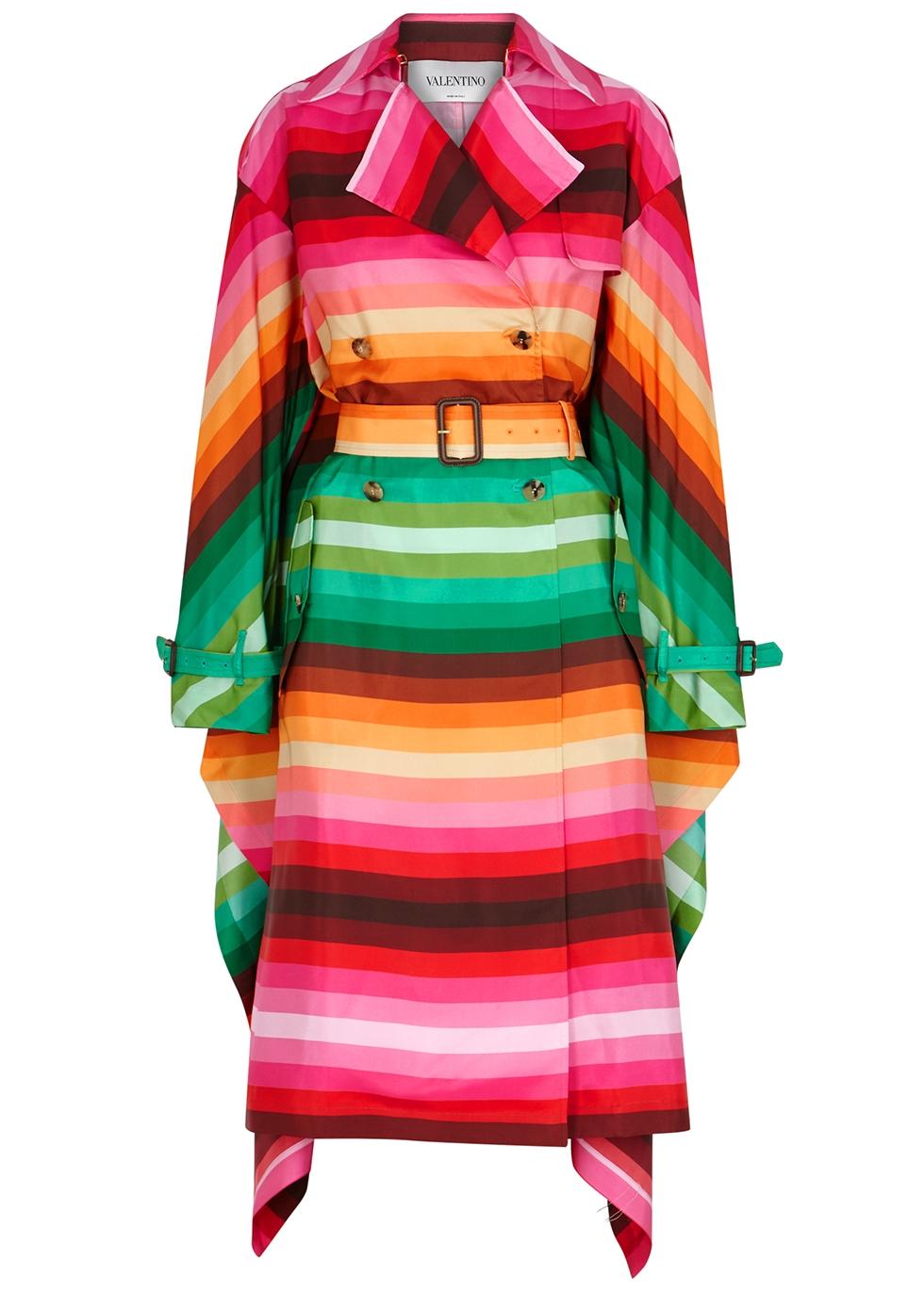 Striped cape-effect silk trench coat - Valentino