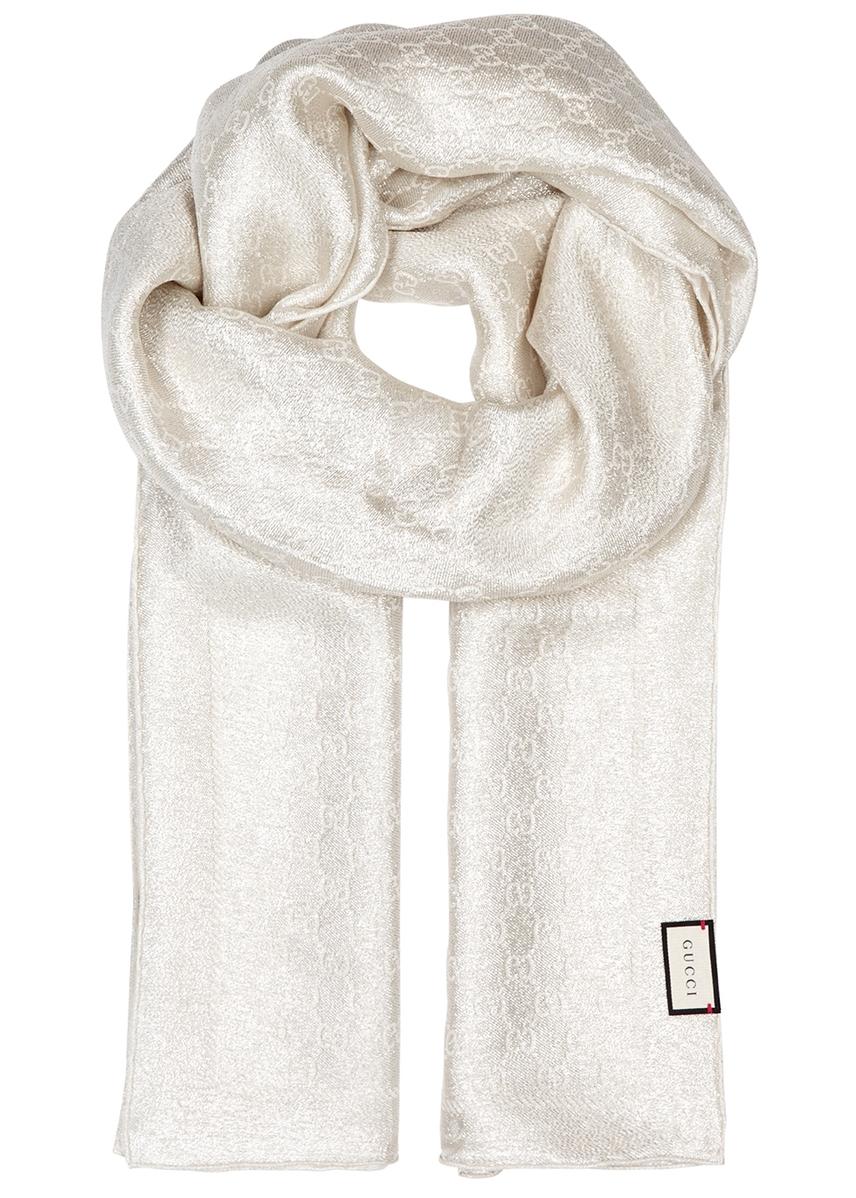 5e9ce187a6e GG metallic silk-blend scarf GG metallic silk-blend scarf. Gucci