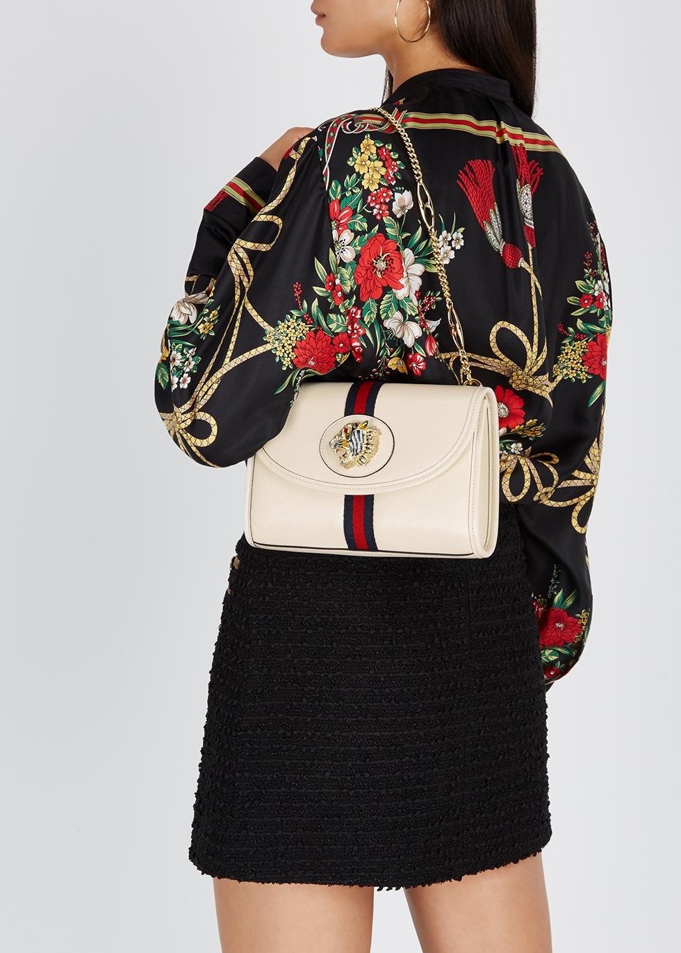 Rajah cream leather shoulder bag - Gucci