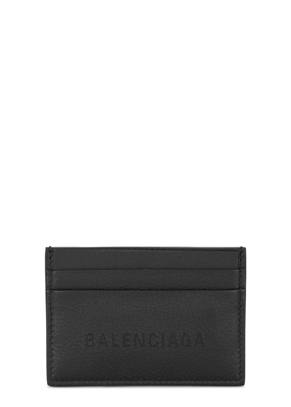 Black logo leather card holder - Balenciaga