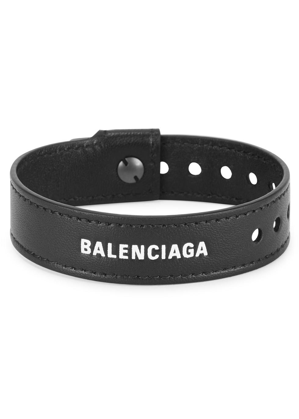 Black logo leather bracelet - Balenciaga