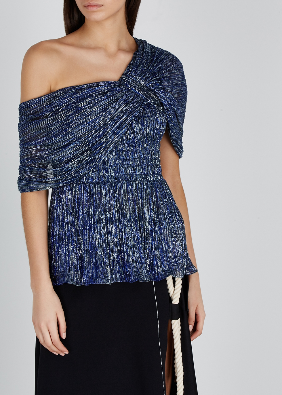 Navy one-shoulder lamé top - Peter Pilotto