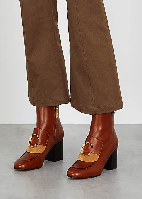 6fcd5a624c Chloé C 70 brown leather ankle boots - Harvey Nichols
