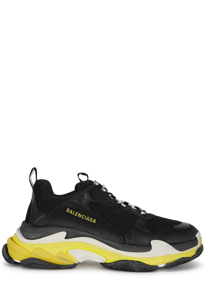 5e9318a9910 Triple S black and yellow mesh trainers ...
