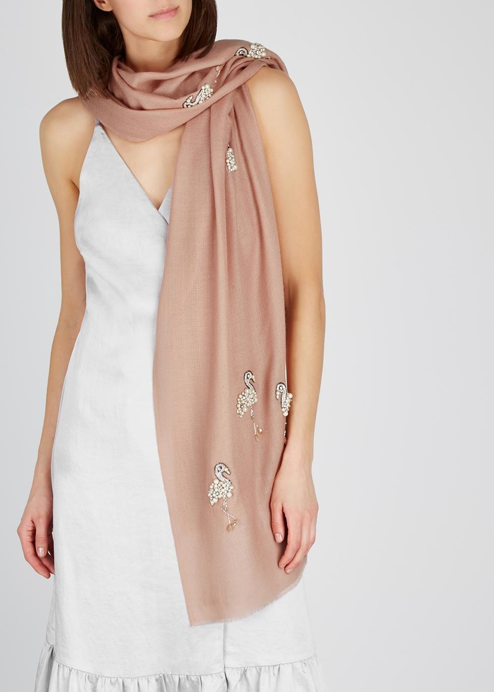 Dusky pink embellished cashmere scarf - Janavi