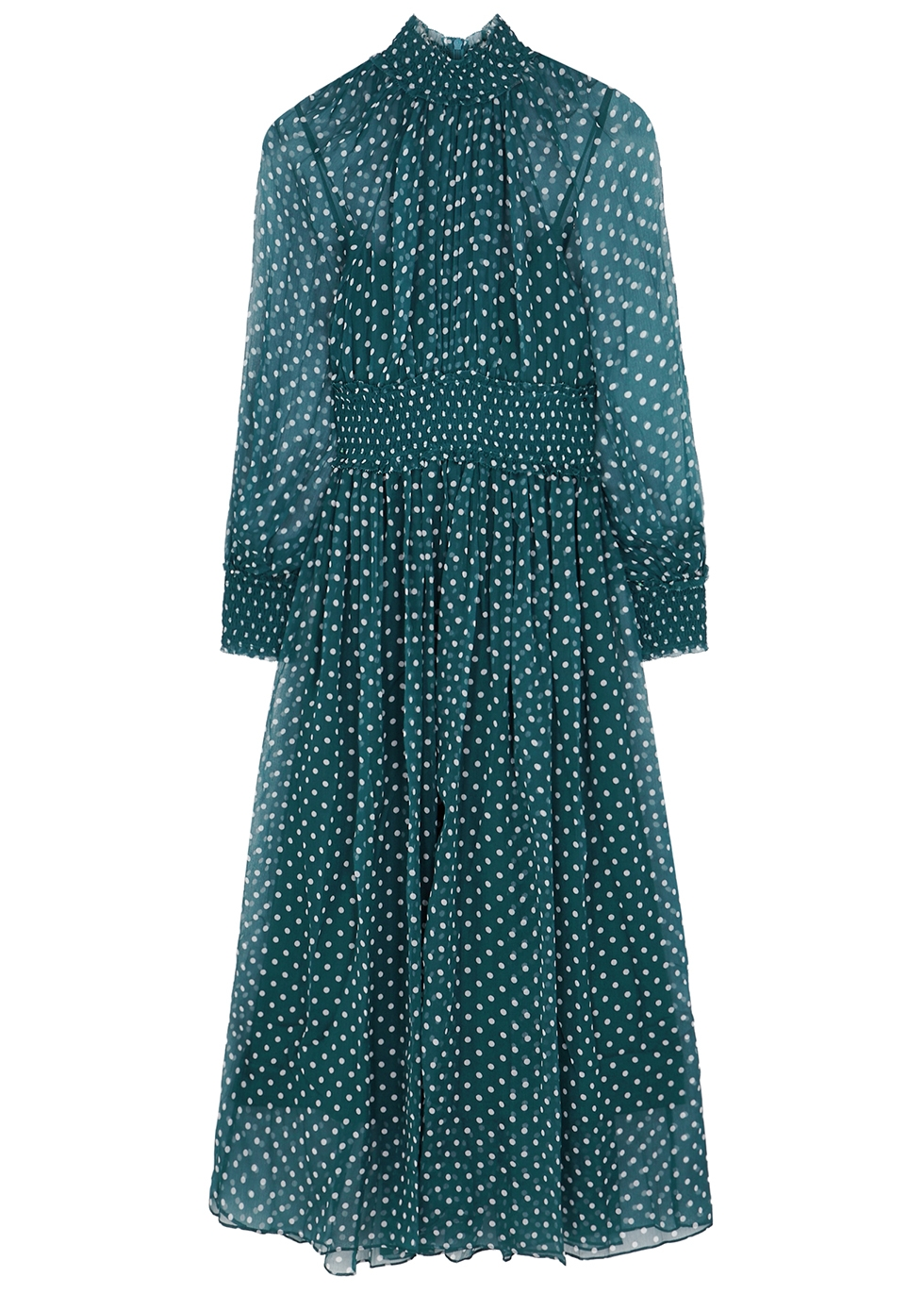 Moncur teal polka-dot silk dress - Zimmermann