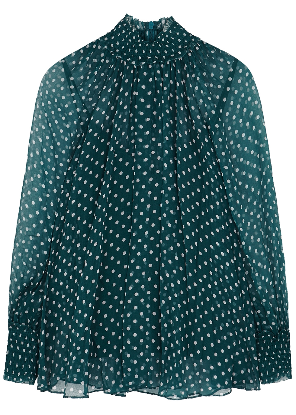 Moncur teal polka-dot silk top - Zimmermann