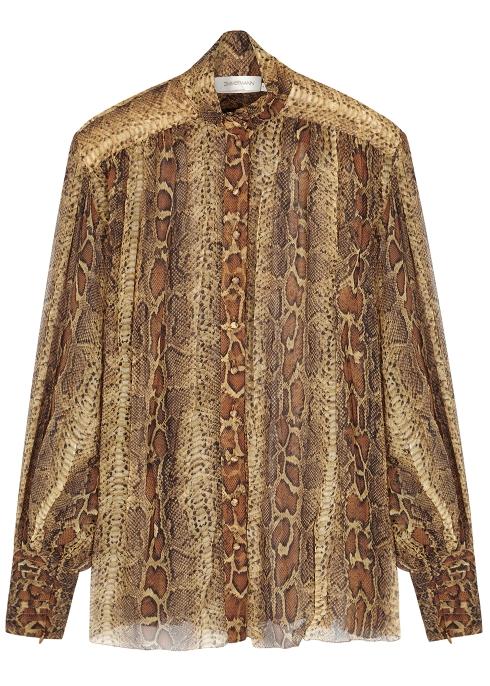 68164f0740 Zimmermann Ninety-Six Lantern python-print silk blouse - Harvey Nichols
