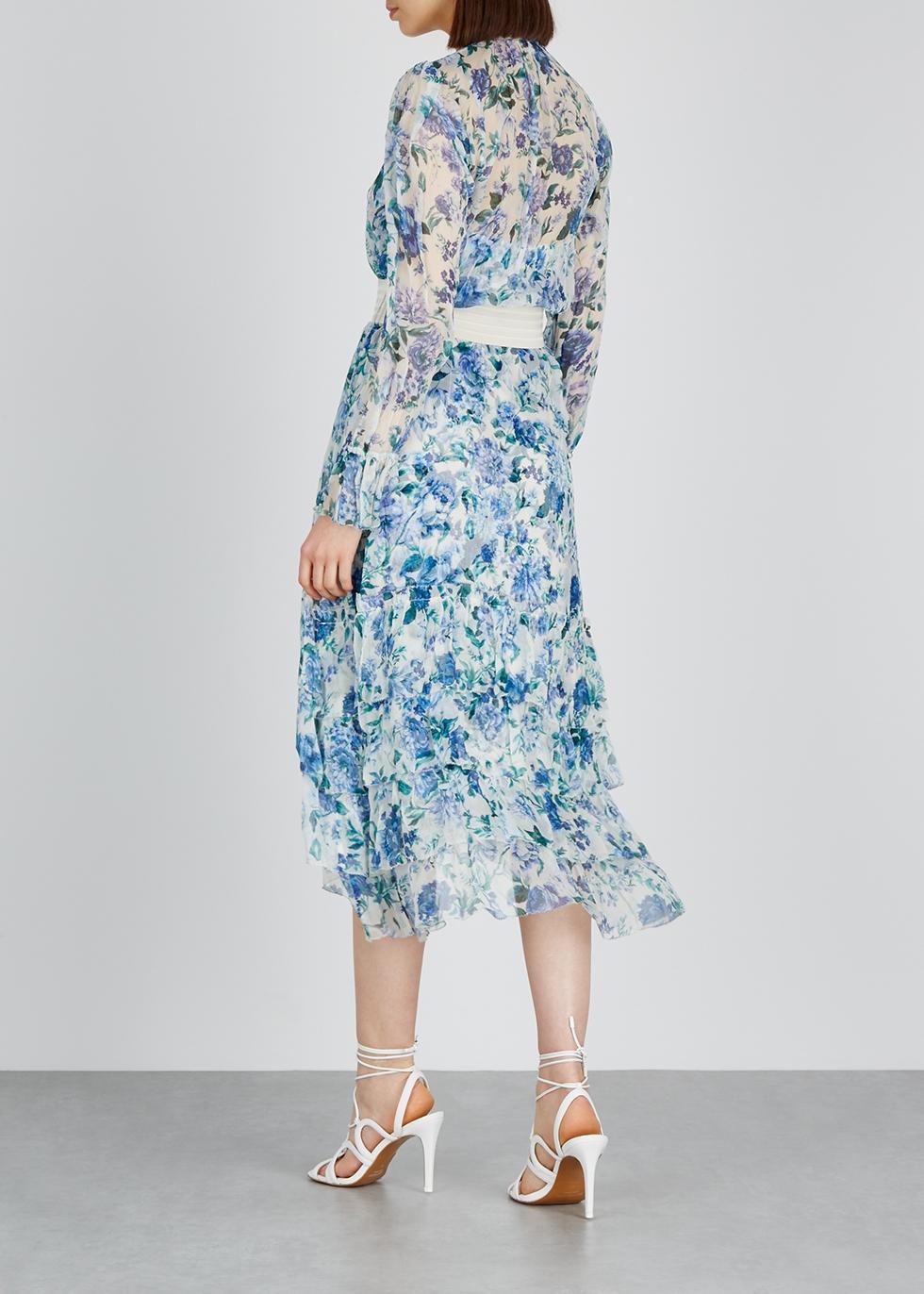 Moncur Chevron printed silk-chiffon dress - Zimmermann