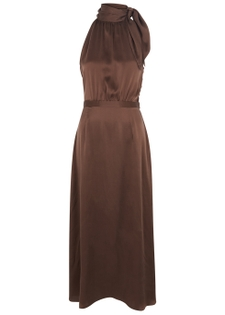 Chocolate halterneck silk dress ... 71324d7c9