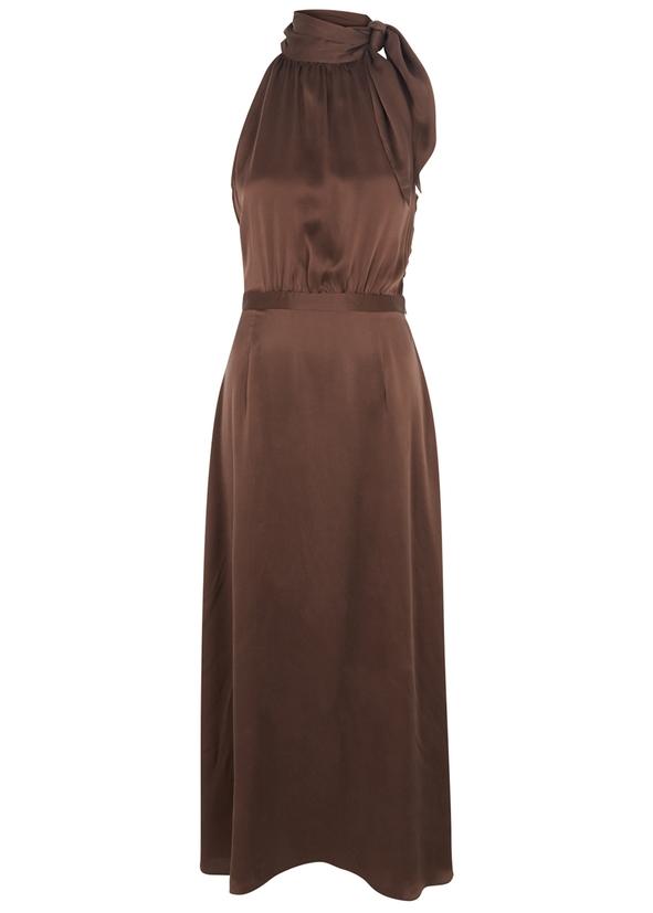 Chocolate halterneck silk dress ... 0b8409c5e