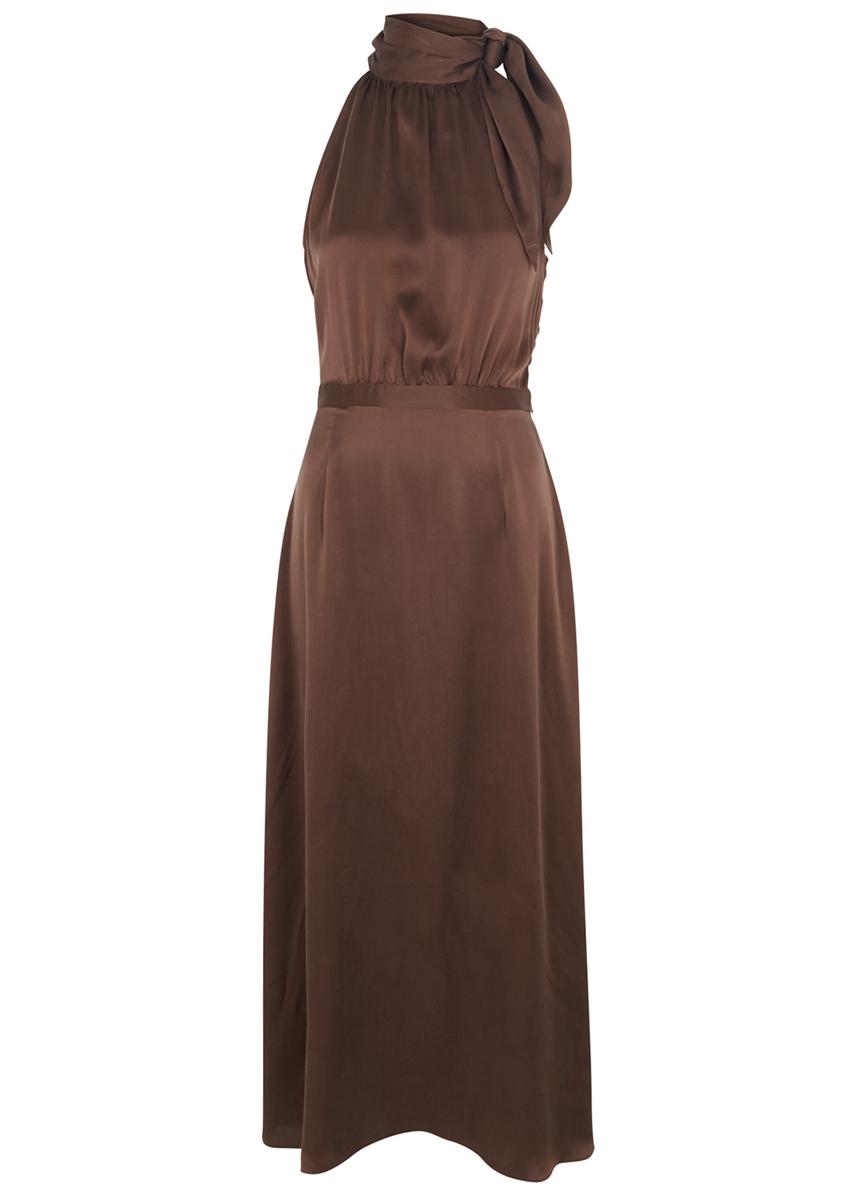 abed2f6ea308b Chocolate halterneck silk dress ...