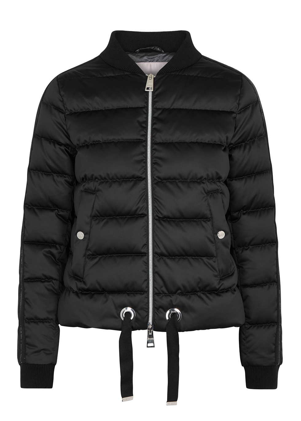 Black quilted satin jacket