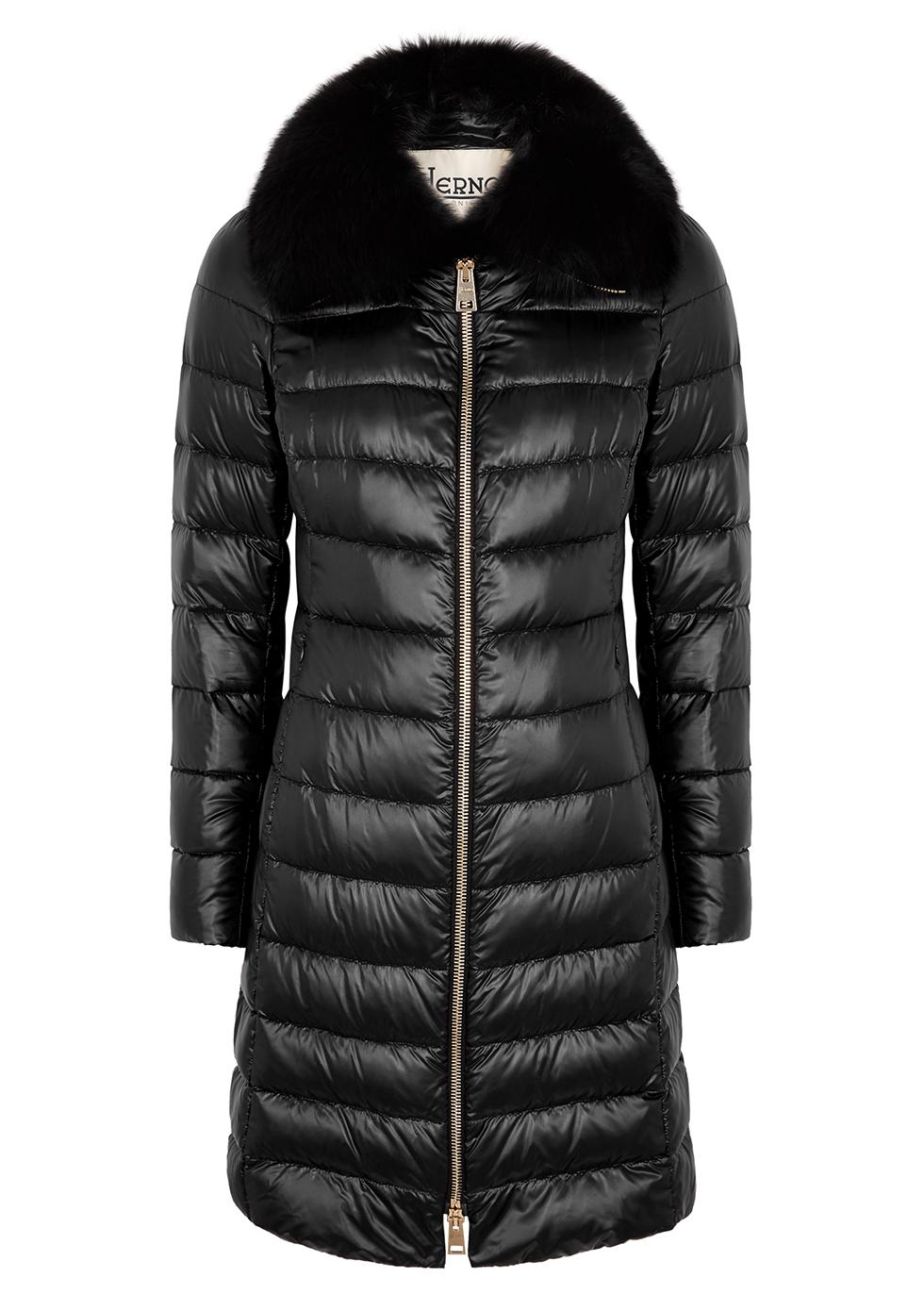 Elisa fur-trimmed shell coat