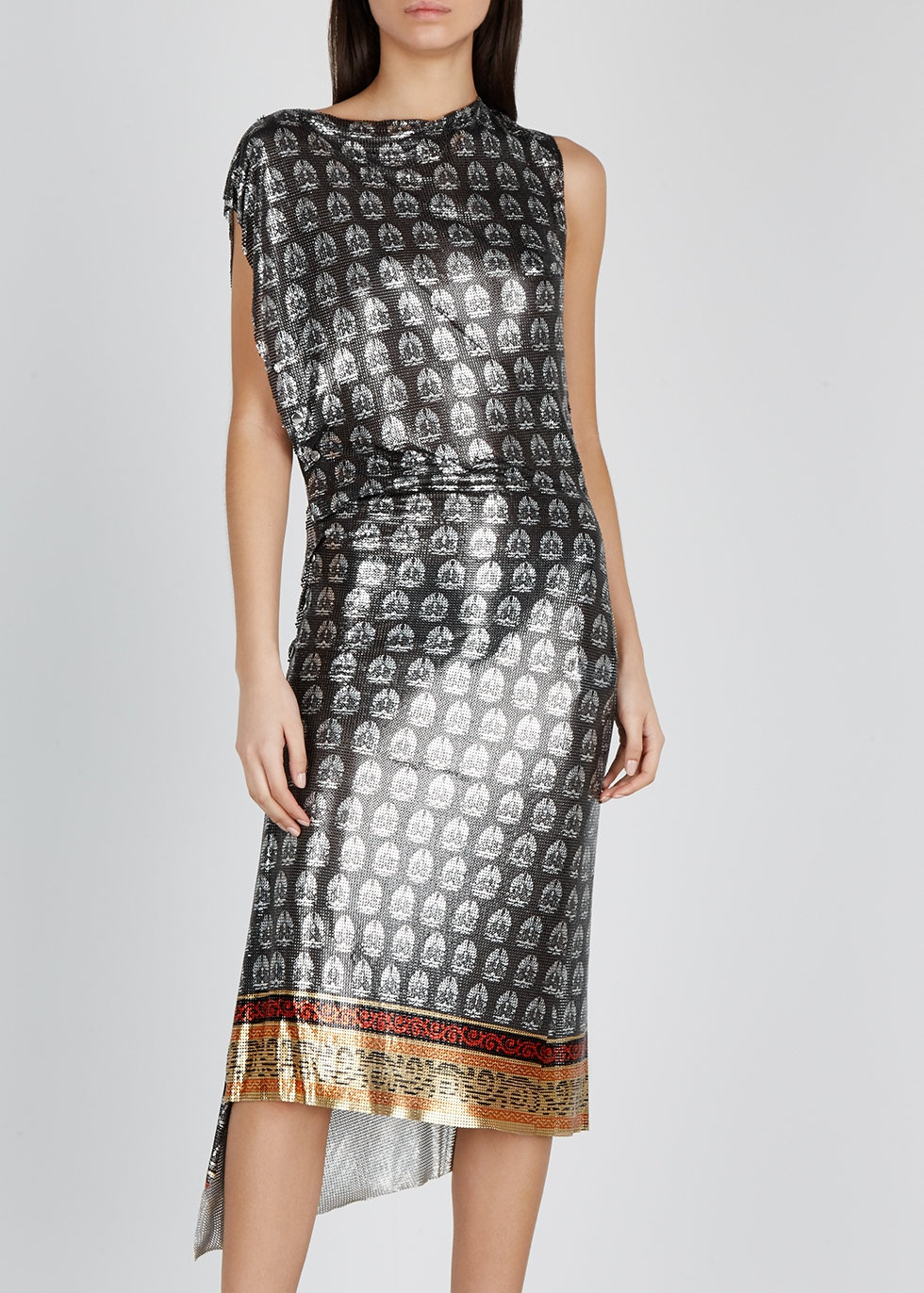 Printed draped chainmail dress - Paco Rabanne
