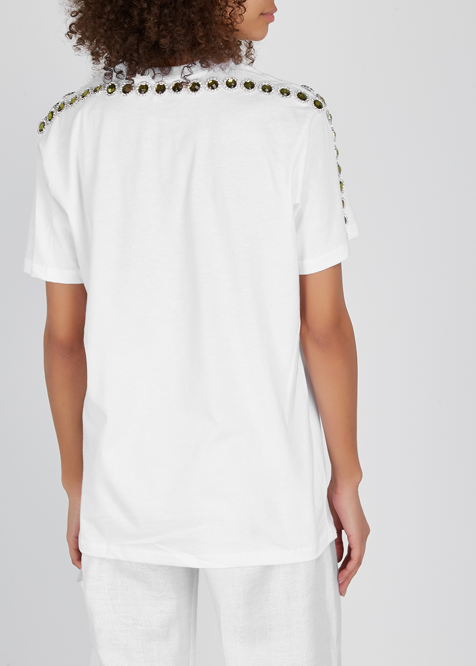 Higher Power crystal-embellished cotton T-shirt - Collina Strada