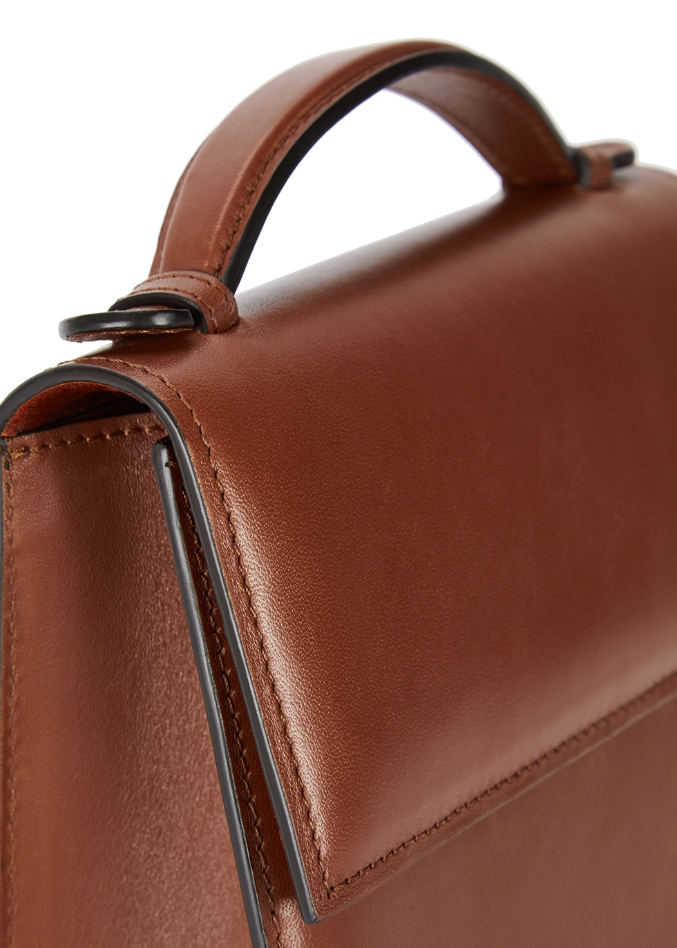 Brown leather top-handle bag - Hunting Season