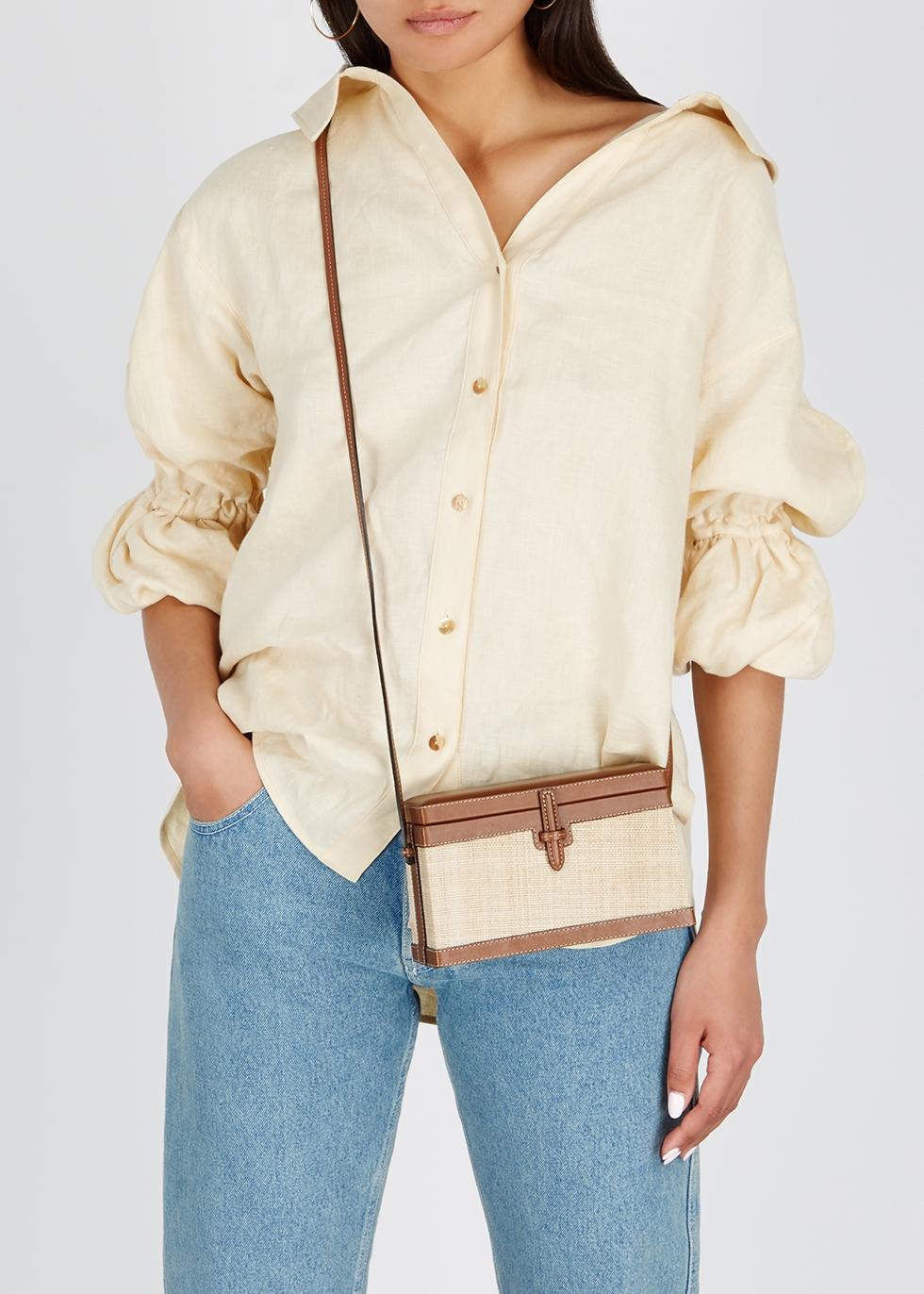 Brown leather and straw cross-body bag - Hunting Season