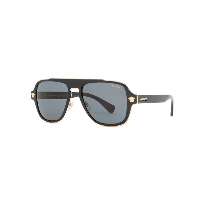 ef2d17e34ddb Versace Black Polarised Aviator-style Sunglasses
