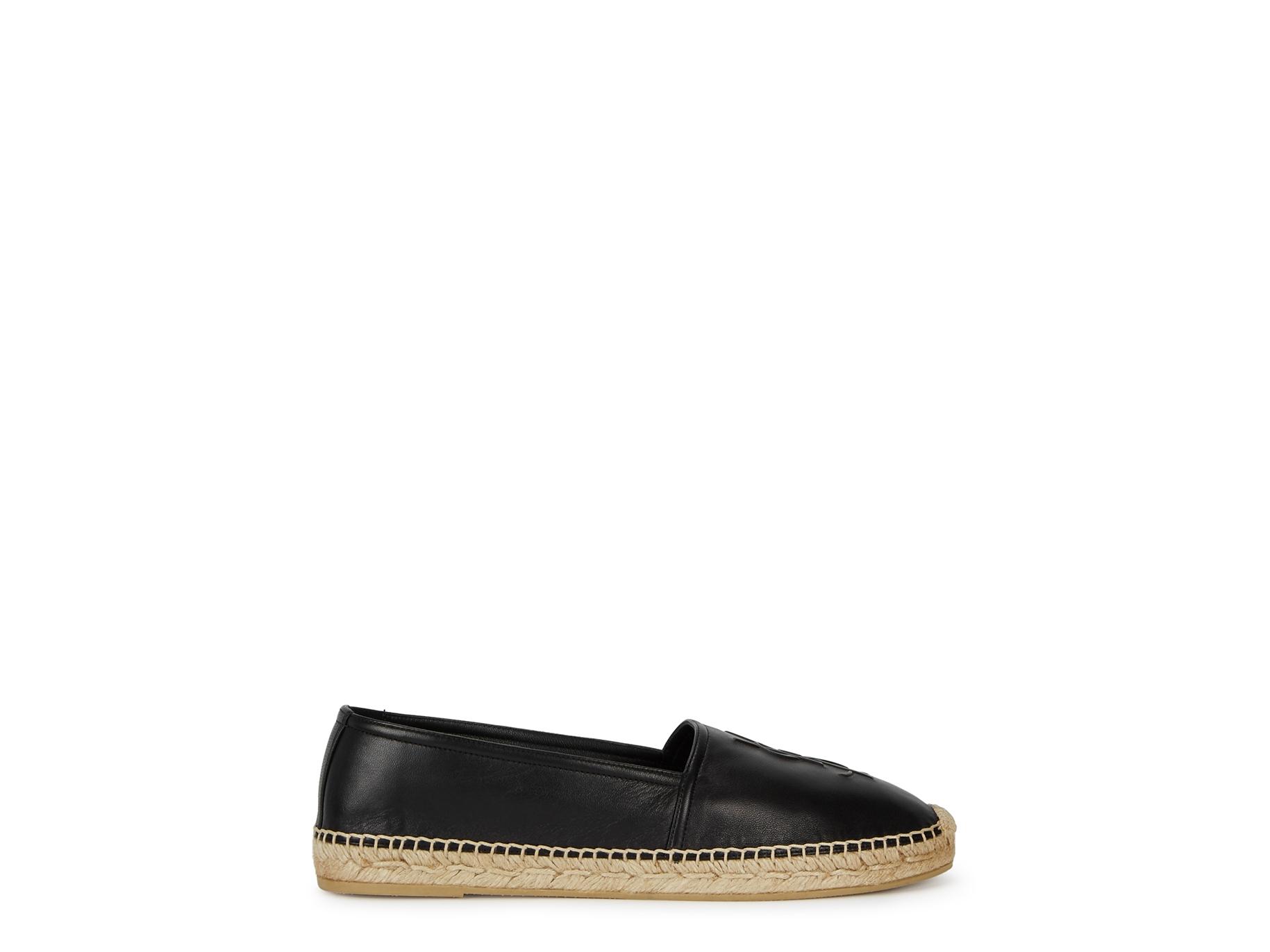 8c737d68ad79 Saint Laurent Black logo leather espadrilles - Harvey Nichols