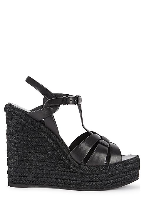 774ecce308a Saint Laurent Tribute 125 black leather wedge sandals - Harvey Nichols