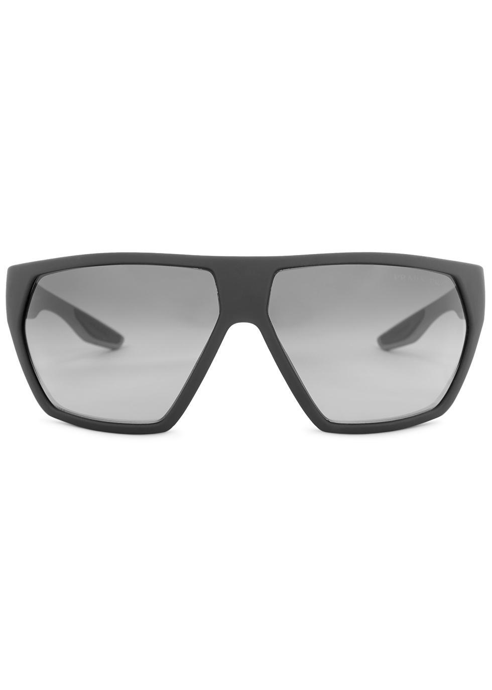 Black matte geometric frame sunglasses - Prada Linea Rossa