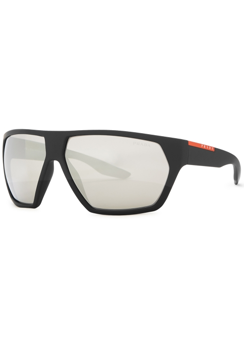 327dbcb01 Prada Linea Rossa Black matte geometric frame sunglasses - Harvey ...