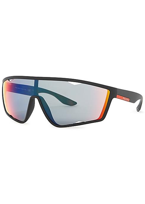 9281c237c Prada Linea Rossa Black matte sunglasses - Harvey Nichols