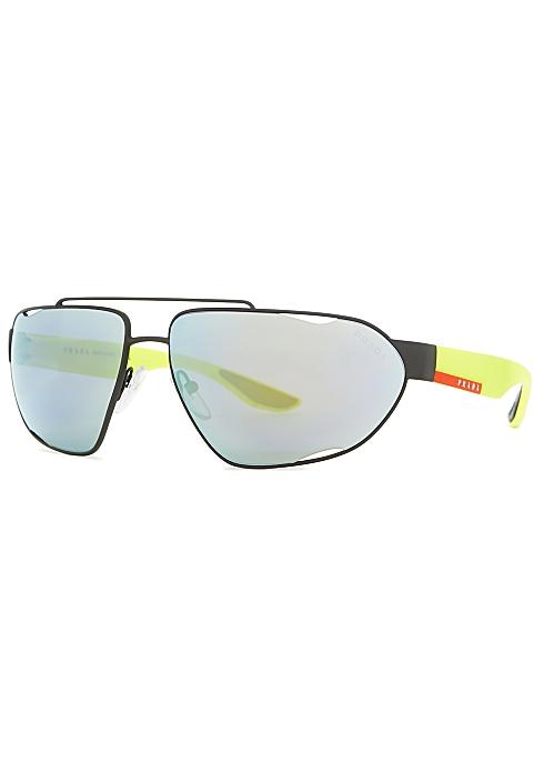 27830a22e Prada Linea Rossa Matte black aviator style sunglasses - Harvey Nichols
