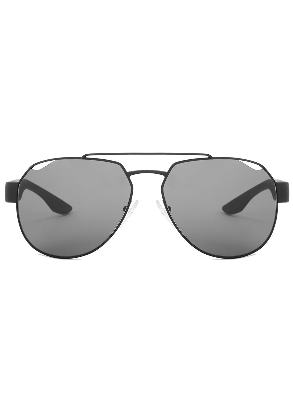 Matte black aviator-style sunglasses - Prada Linea Rossa