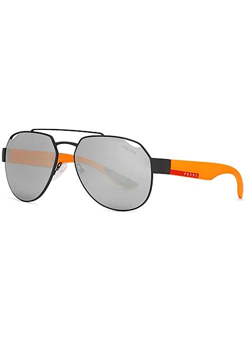 8eded2db2 Prada Linea Rossa Black aviator style sunglasses - Harvey Nichols