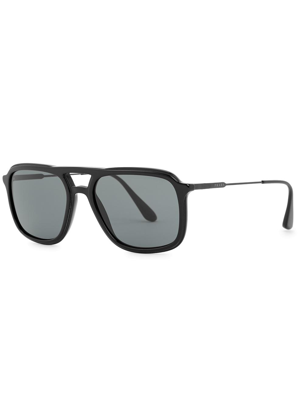 Black aviator-style sunglasses - Prada