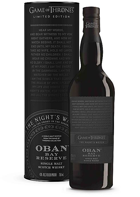 GAME OF THRONES The Night's Watch Oban Bay Reserve Single Malt Scotch Whisky