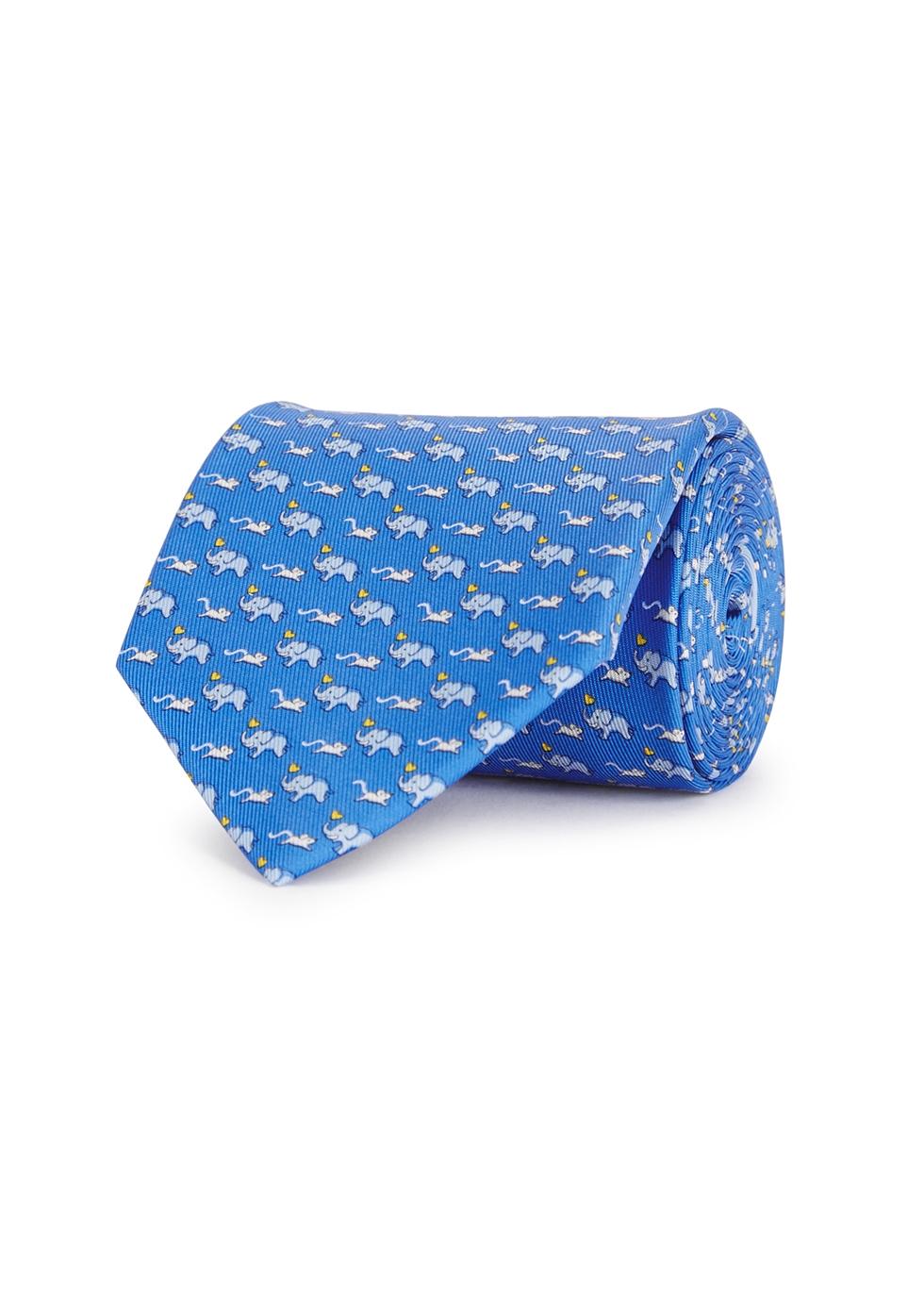 Blue elephant-print silk tie - Salvatore Ferragamo
