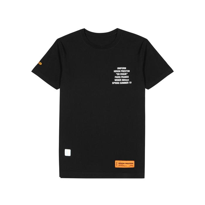 Heron Preston T-shirts BLACK COTTON T-SHIRT