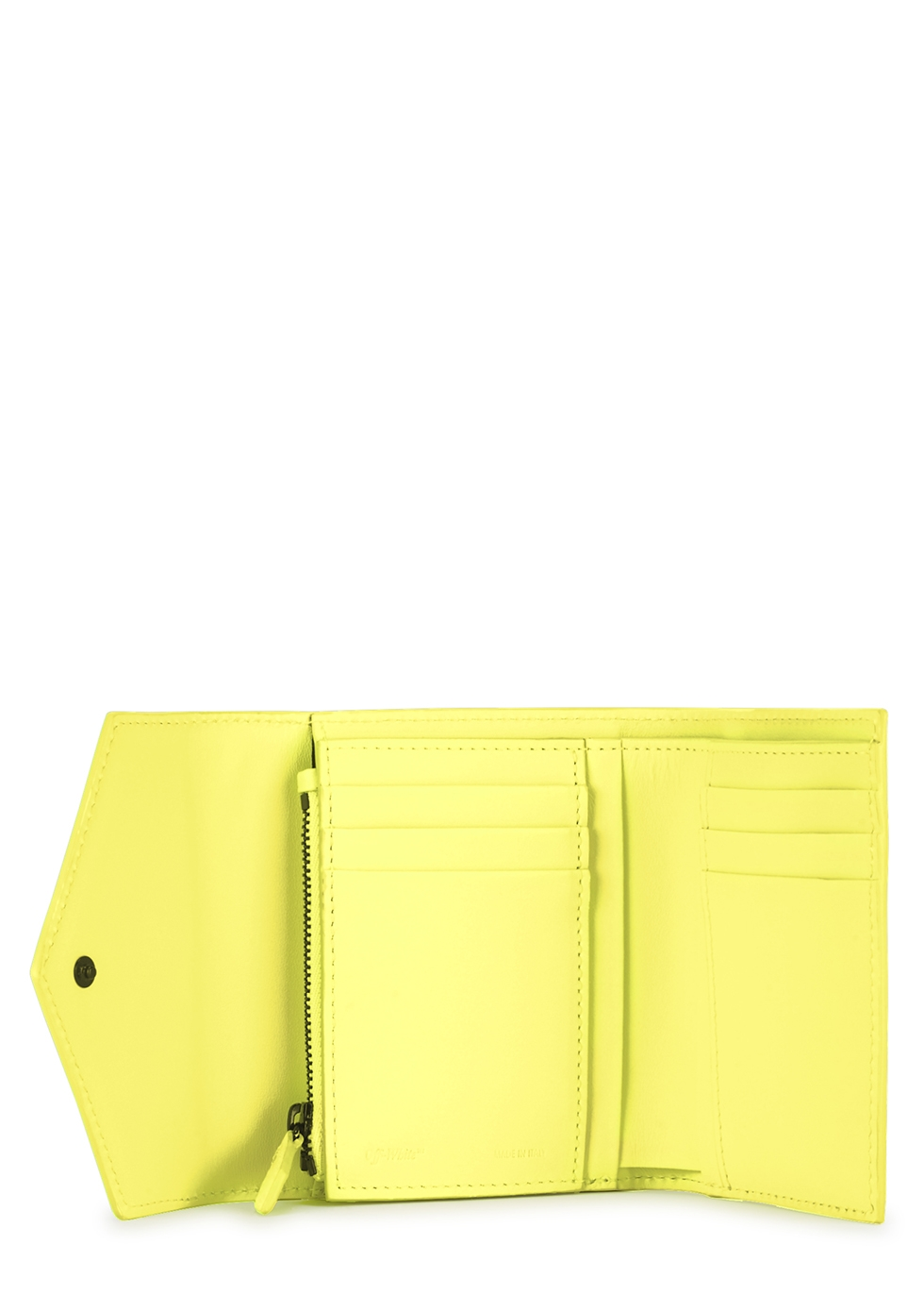 Neon yellow leather wallet - Off-White