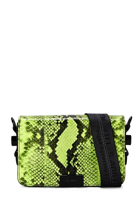 23a0877d46ca Off-White Neon yellow snake print leather shoulder bag - Harvey Nichols