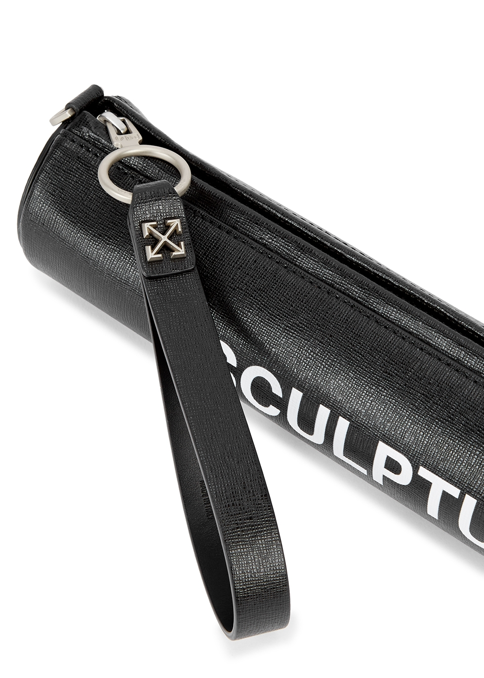 Sculpture black leather clutch - Off-White