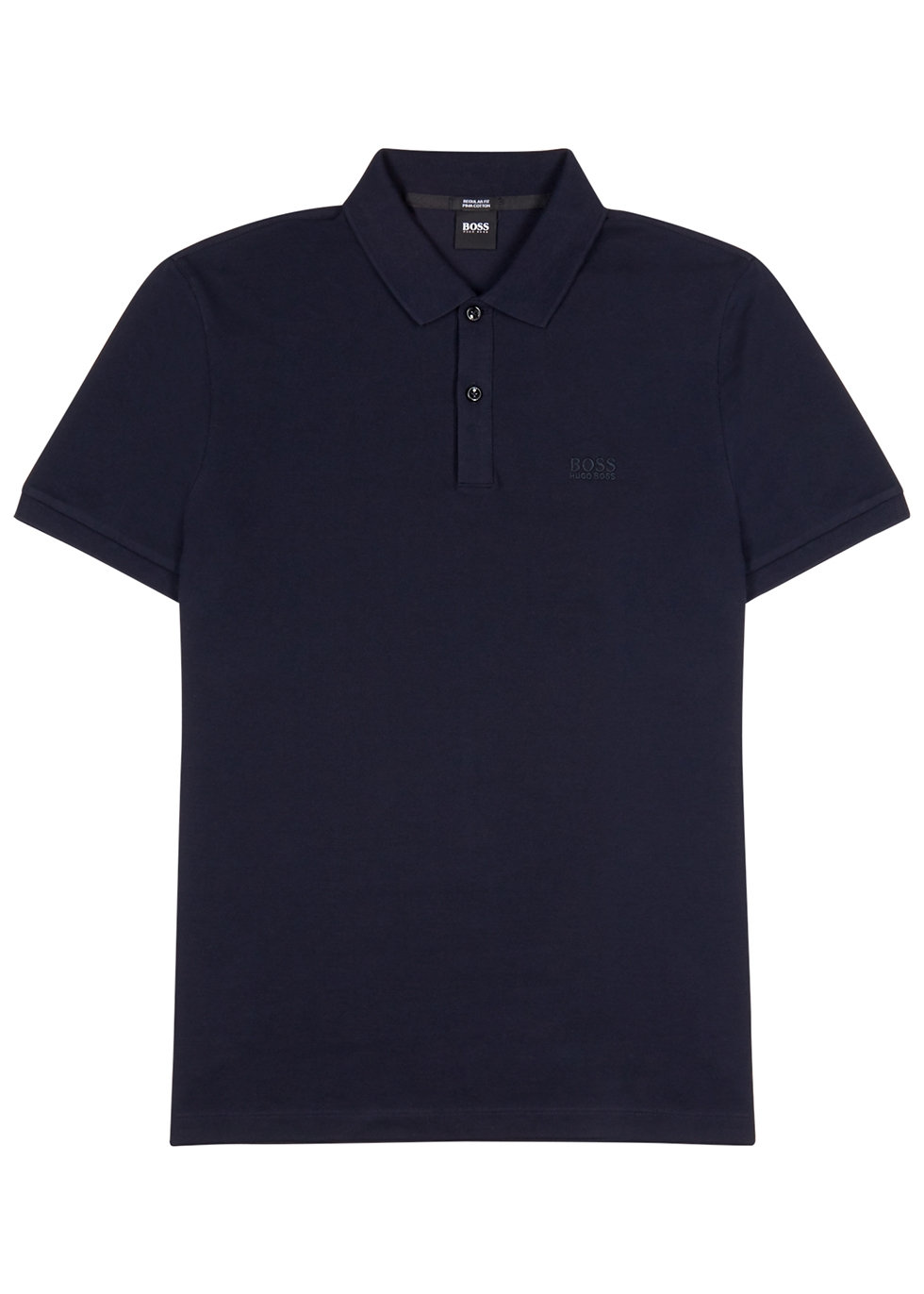 Navy cotton-piqué polo shirt - HUGO