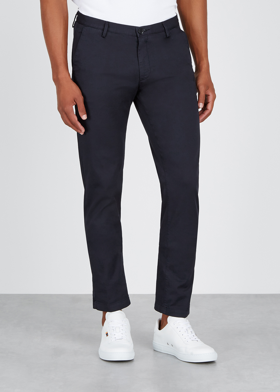 Navy cotton-blend chinos - HUGO