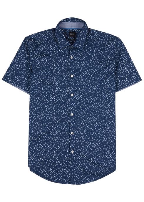 e49b8c34c HUGO Ronn printed cotton piqué shirt - Harvey Nichols