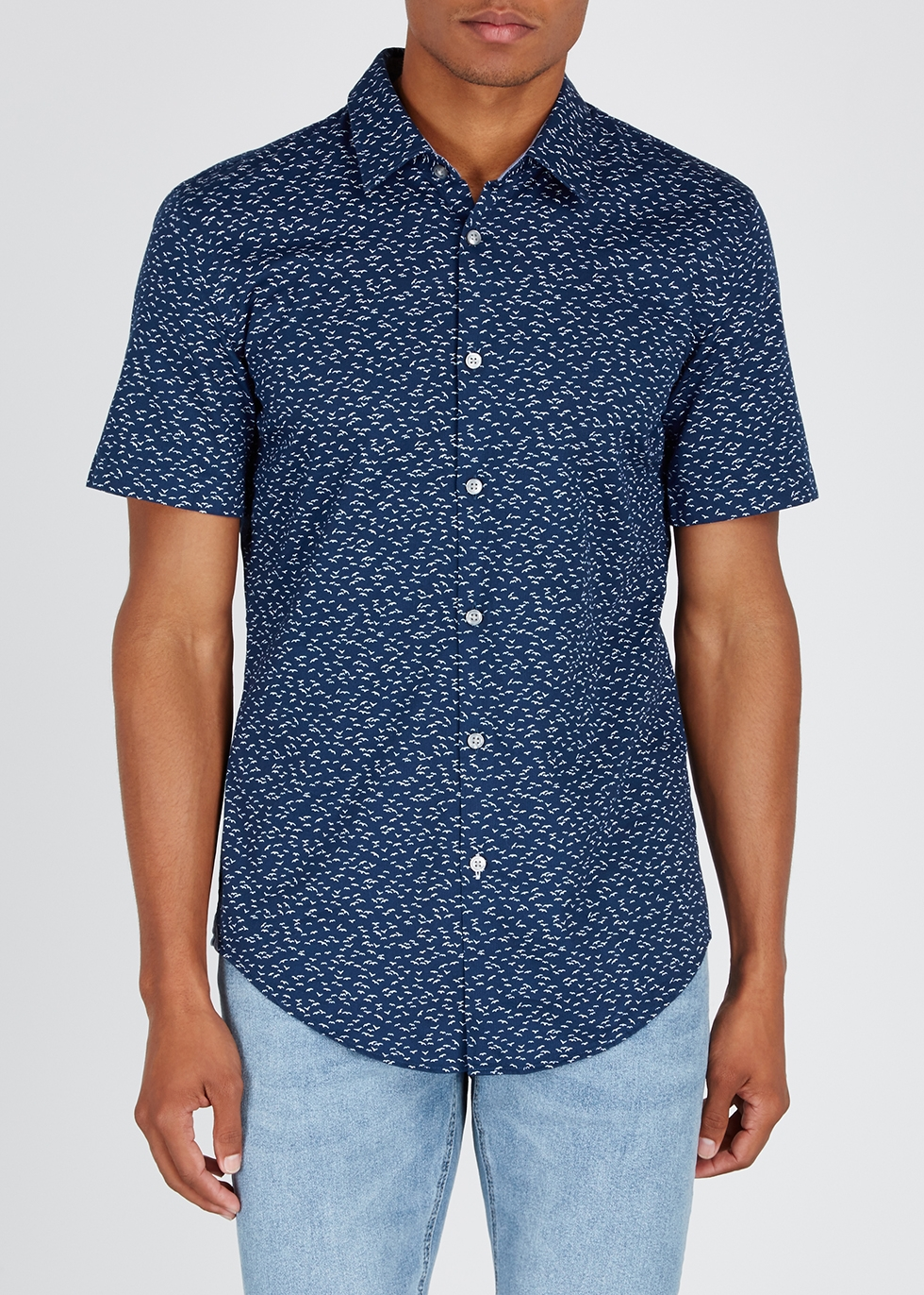 Ronn printed cotton piqué shirt - HUGO