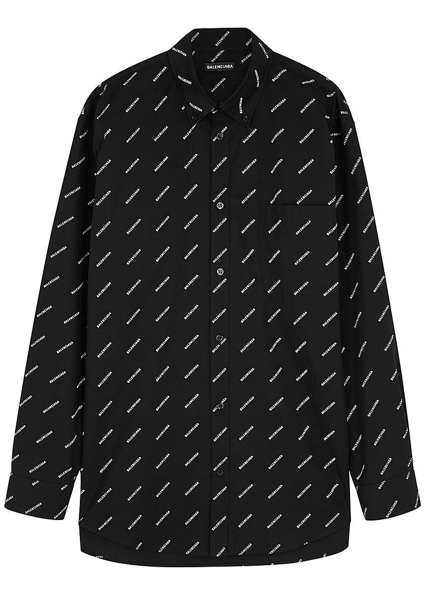609b12cc Black logo-print cotton shirt ...