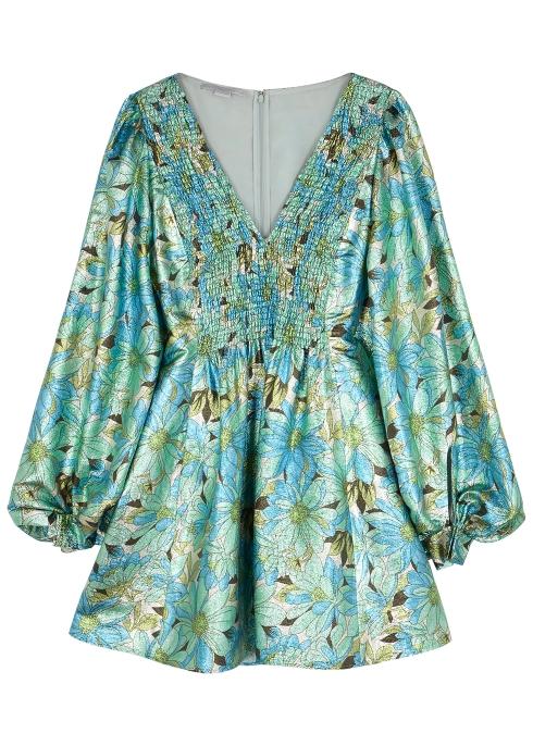534c0cfa50 Stella McCartney Green floral-print lamé dress - Harvey Nichols