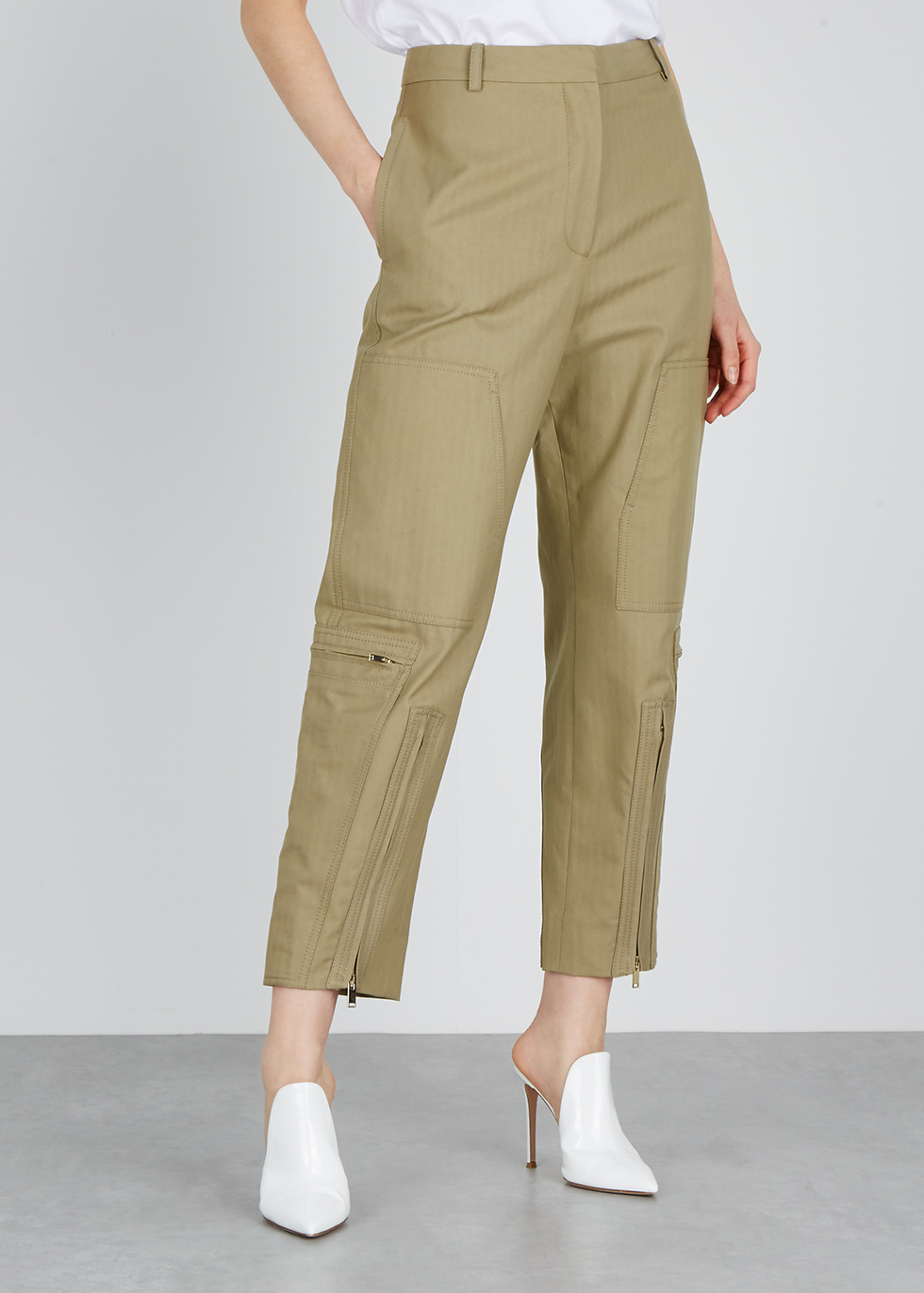 Taupe herringbone cotton-blend trousers - Stella McCartney