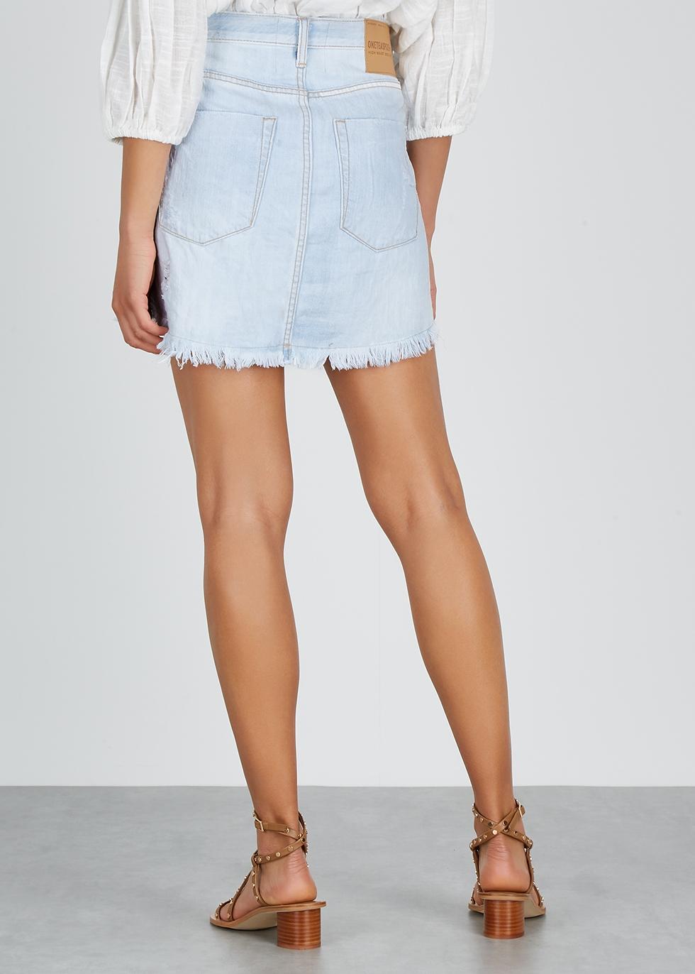 2020 distressed denim mini skirt - Oneteaspoon
