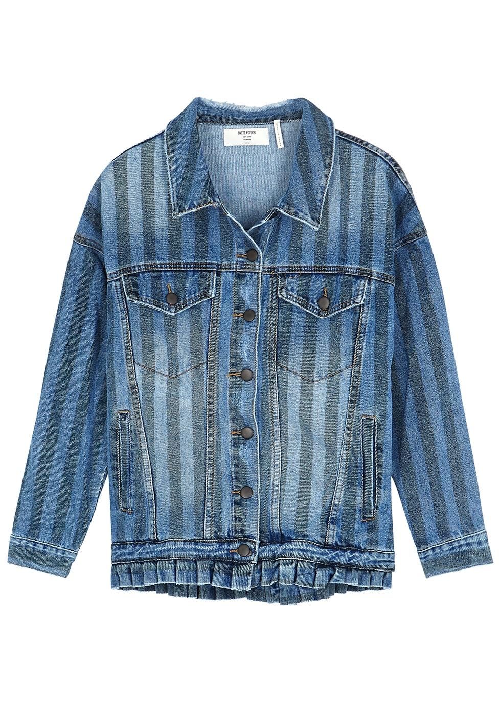 Blue striped denim jacket - Oneteaspoon